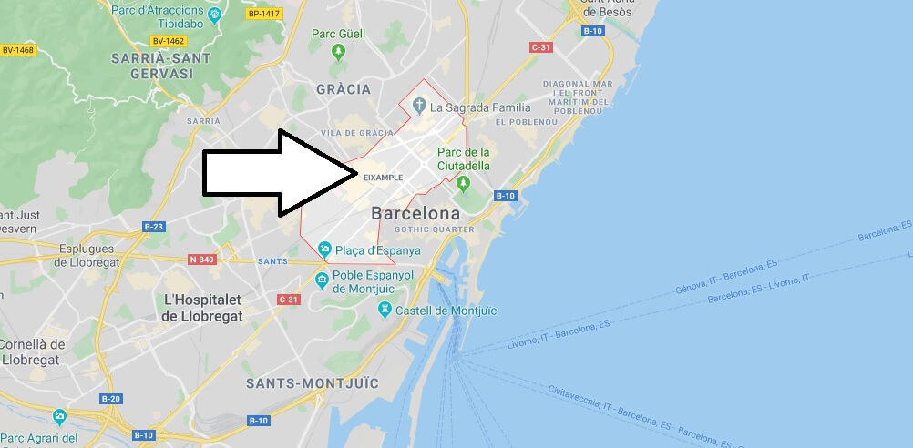 Where is Eixample Located? What Country is Eixample in? Eixample Map