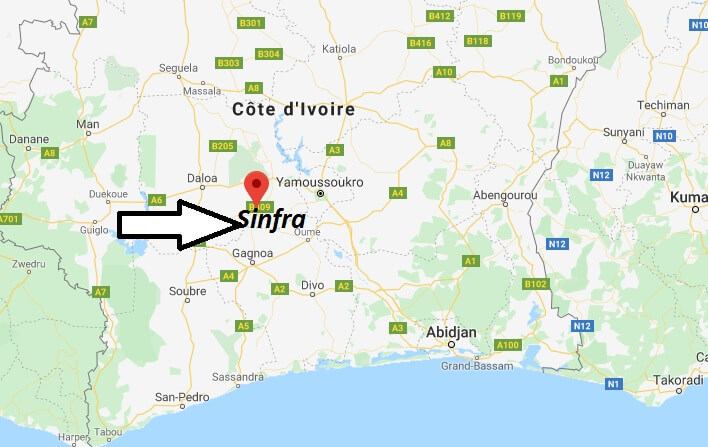 Where is Sinfra Located? What Country is Sinfra in? Sinfra Map