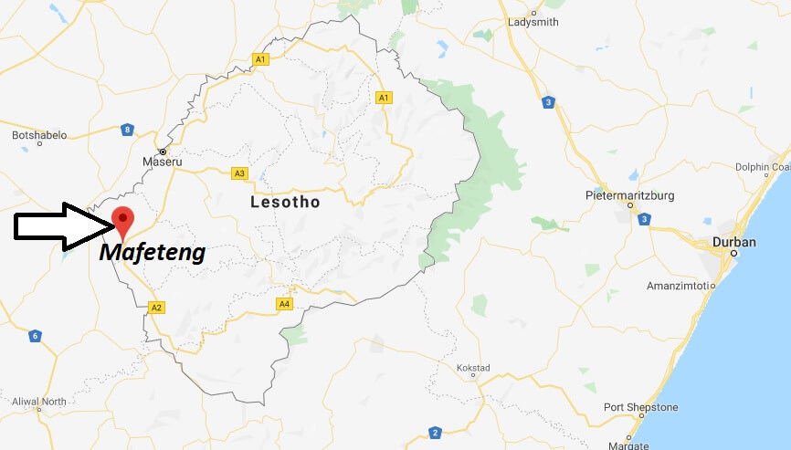 Where is Mafeteng Located? What Country is Mafeteng in? Mafeteng Map