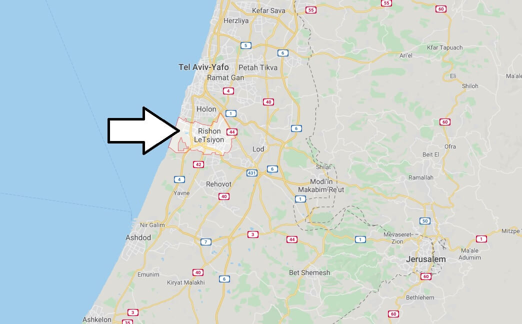 Where is Rishon LeTsiyon Located? What Country is Rishon LeTsiyon in? Rishon LeTsiyon Map