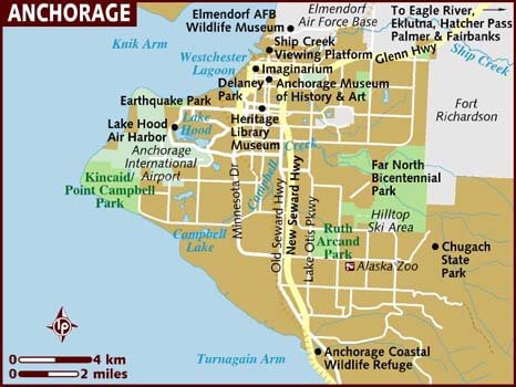 Anchorage Map and Map of Anchorage, Anchorage on Map