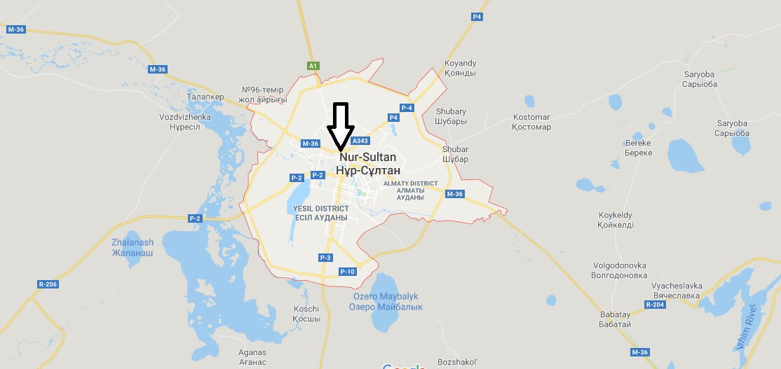 Astana on Map