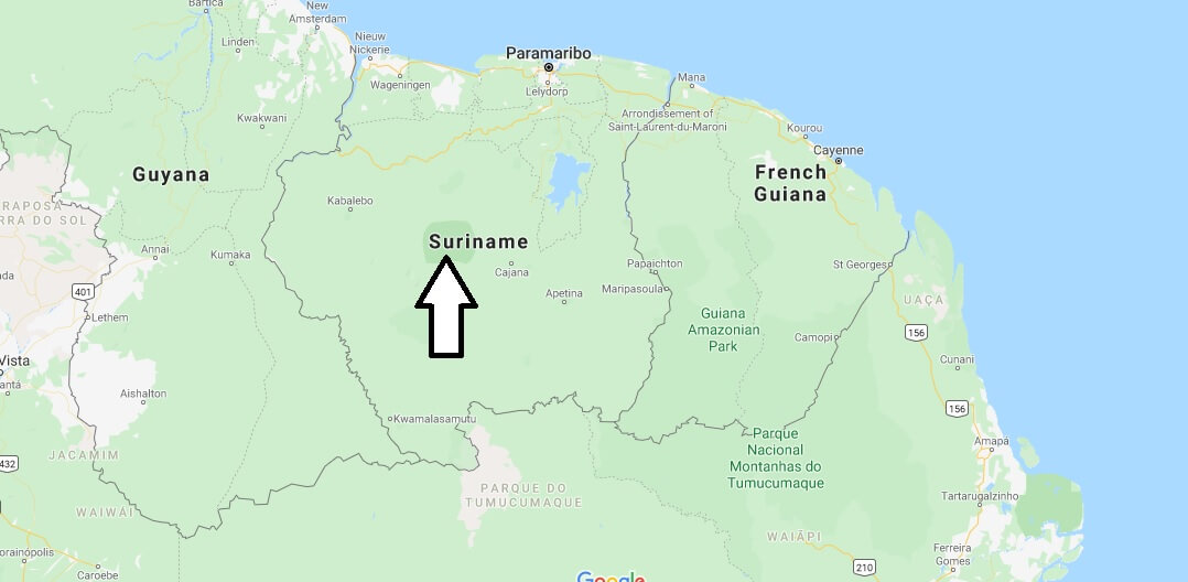 Suriname on Map