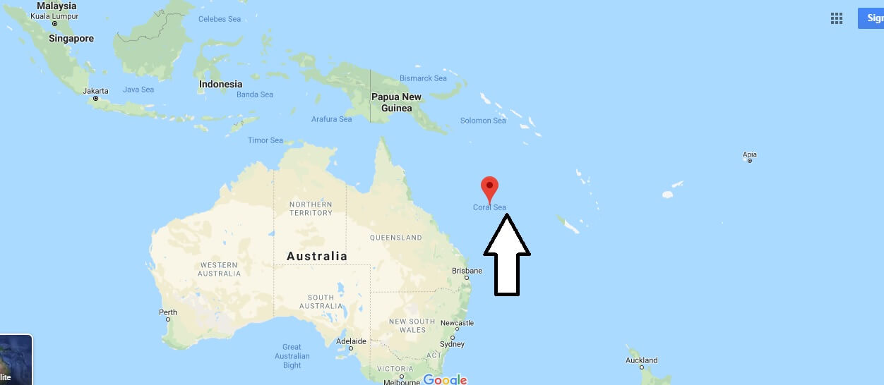 Where is Coral Sea? What is the location of the Coral Sea?