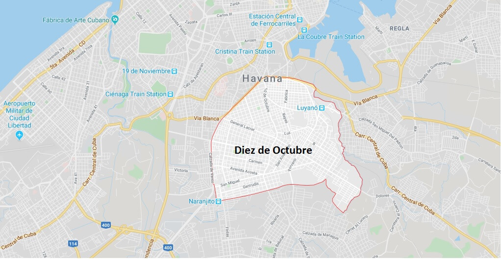 Where is Diez de Octubre Located? What Country is Diez de Octubre in? Diez de Octubre Map