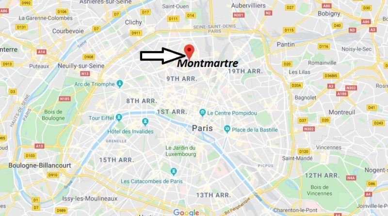 Where is Montmartre Located? What Country is Montmartre in? Montmartre Map