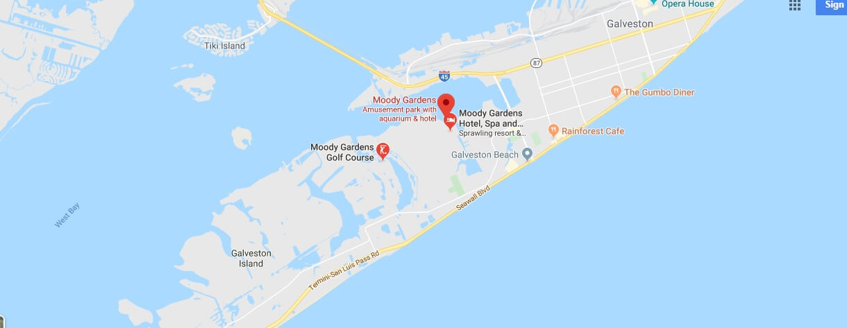 Where is Moody Gardens? Is Moody Gardens inside or outside?