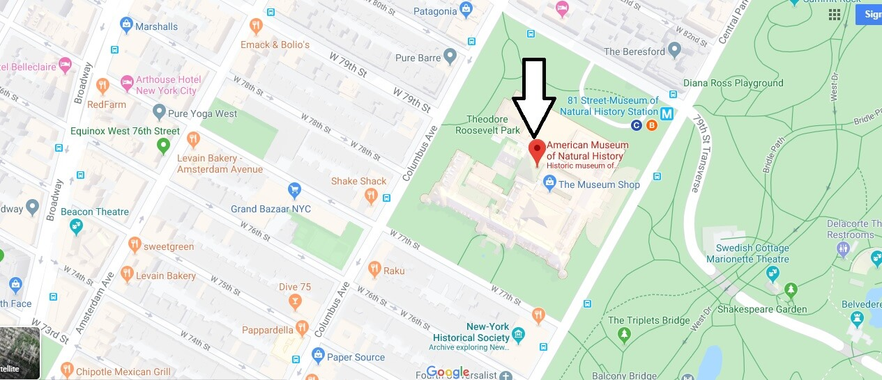 Where is American Museum of Natural History? Where is the entrance to the American Museum of Natural History?