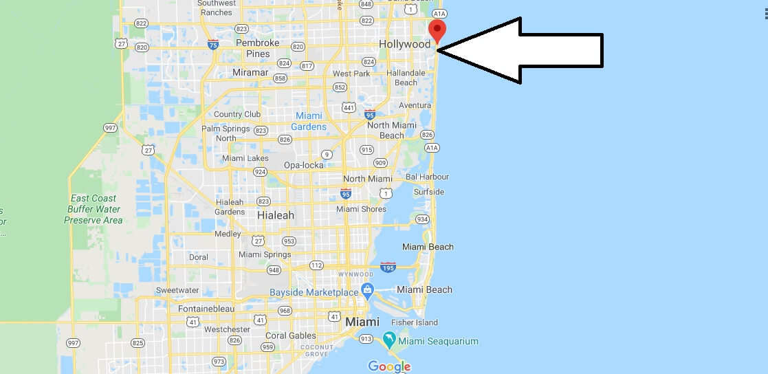 Where is Hollywood Beach? Where in Florida is Hollywood Beach?