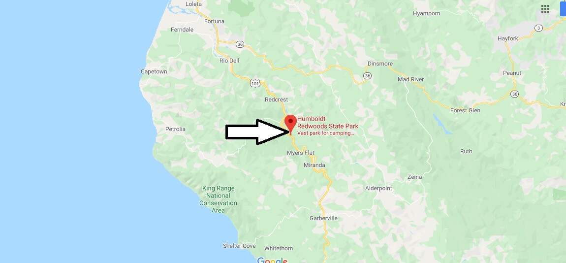 Where is Humboldt Redwoods State Park? How far is Humboldt Redwoods State Park from San Francisco?