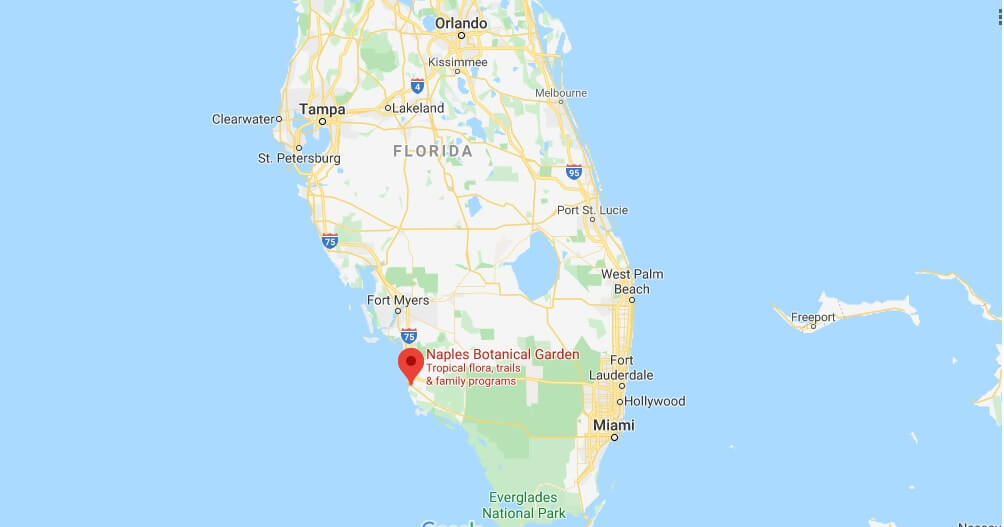 Where is Naples Botanical Garden? How big is Naples Botanical Garden?