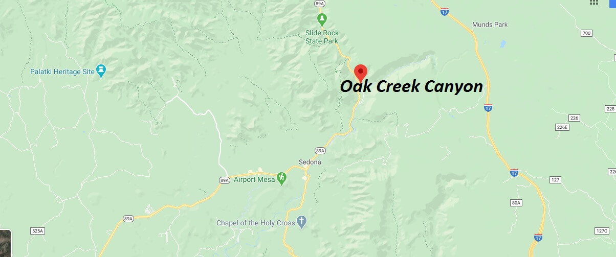 Where is Oak Creek Canyon (AZ 89A)? How far is Oak Creek Canyon from Sedona?