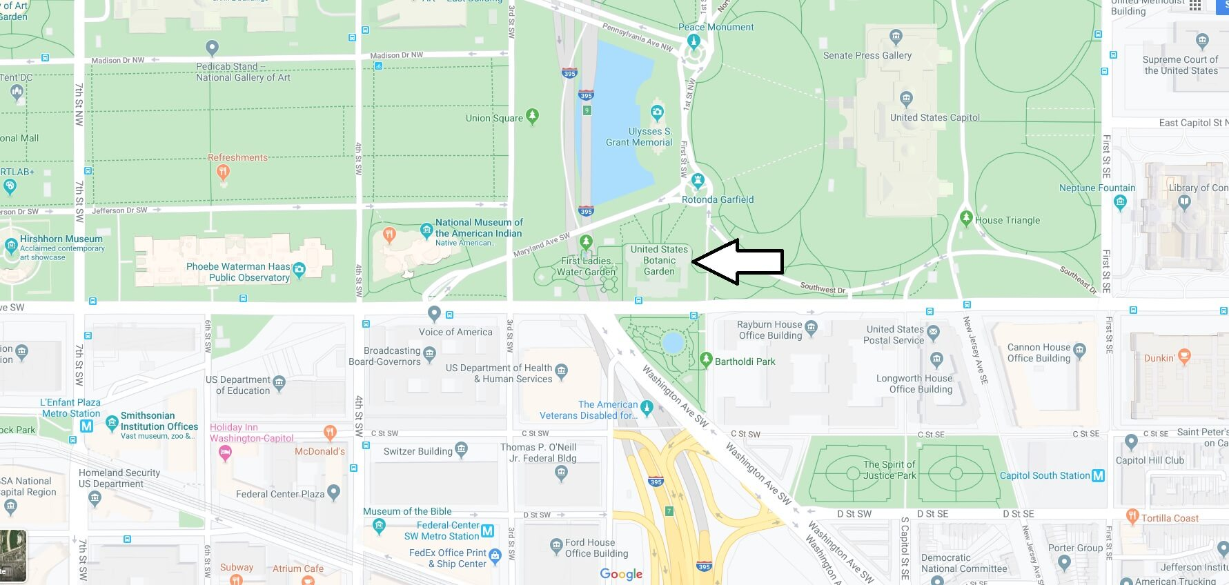 Where is United States Botanic Garden? Is the United States Botanic Garden free?