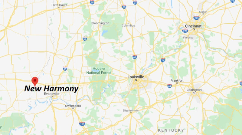 Where is New Harmony, Indiana? What county is New Harmony in? New Harmony Map