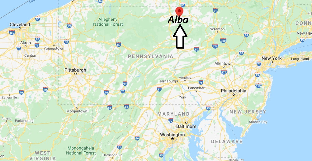 Where is Alba Pennsylvania? Where is zip code 16910