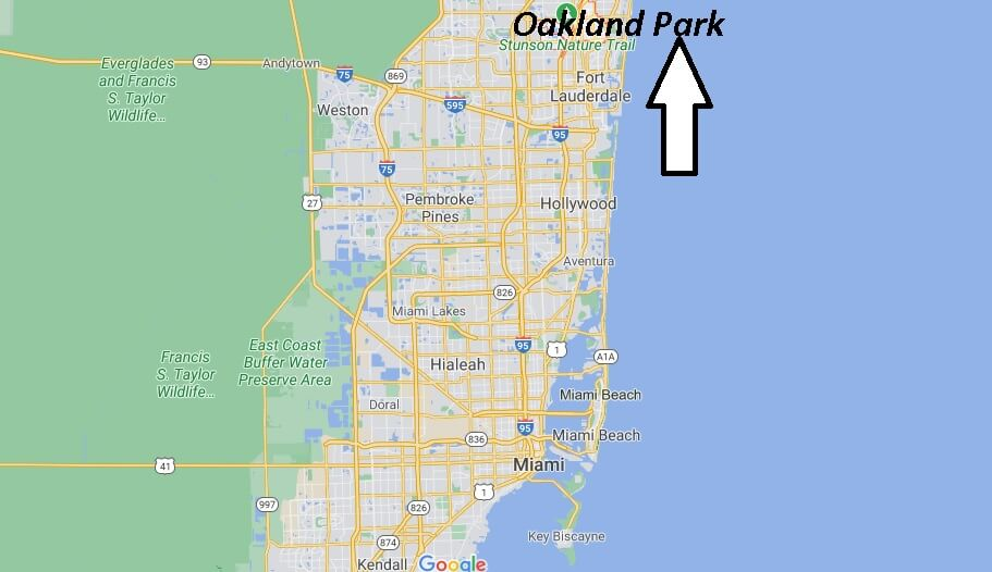 How far is Oakland Park Florida from Fort Lauderdale Florida