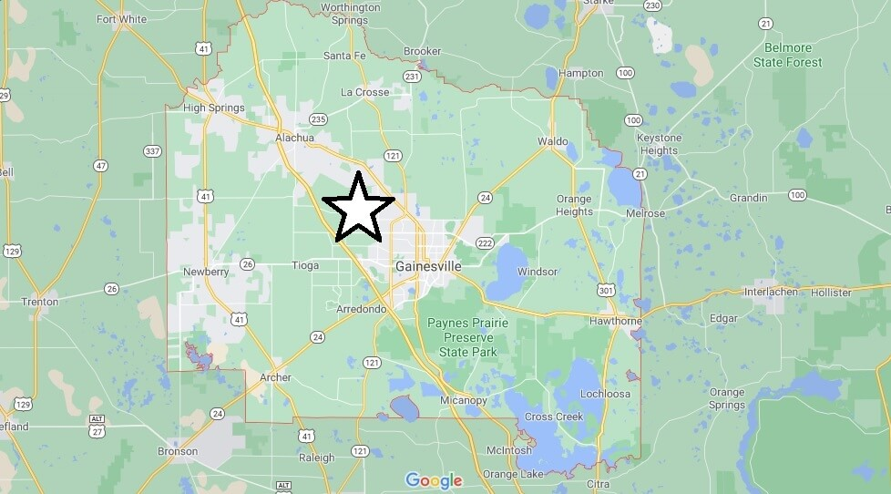 What cities are in Alachua County