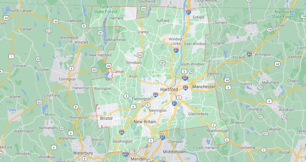 What towns make up Hartford County