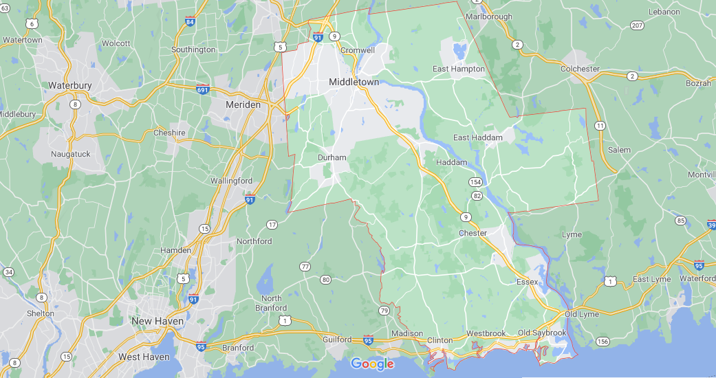 What towns make up Middlesex County CT