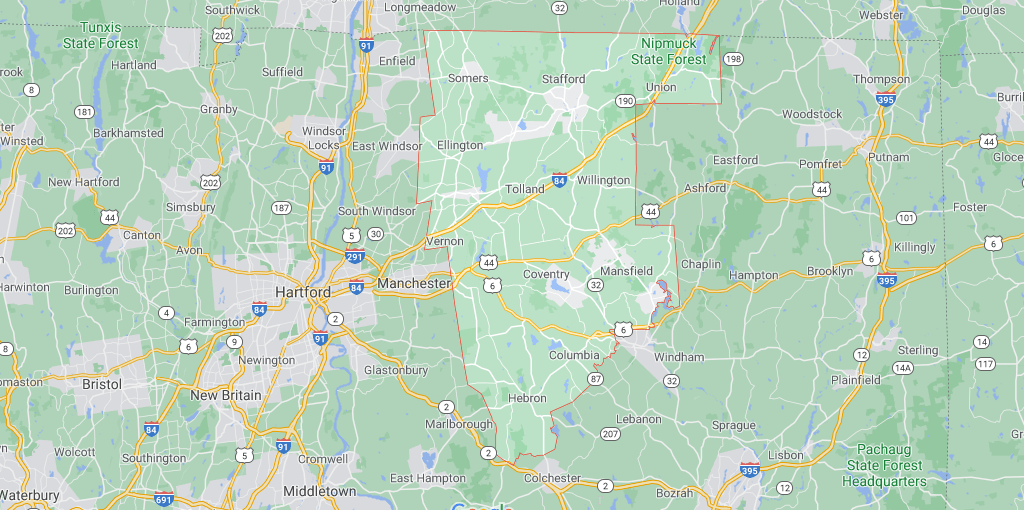 What towns make up Tolland County