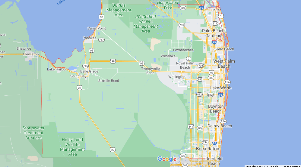 What cities are in Palm Beach County