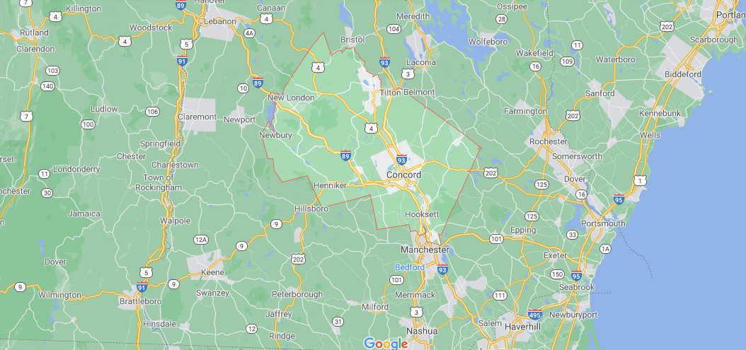 What towns make up Merrimack County NH