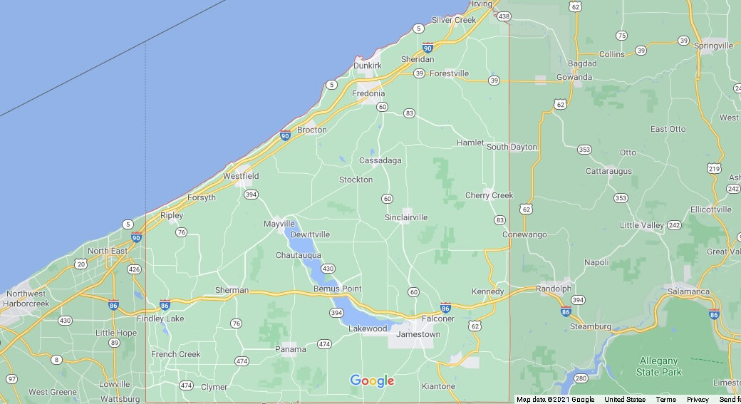 What cities are in Chautauqua County
