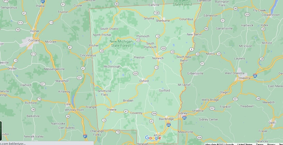 What cities are in Chenango County