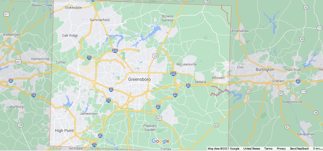 What cities are in Guilford County