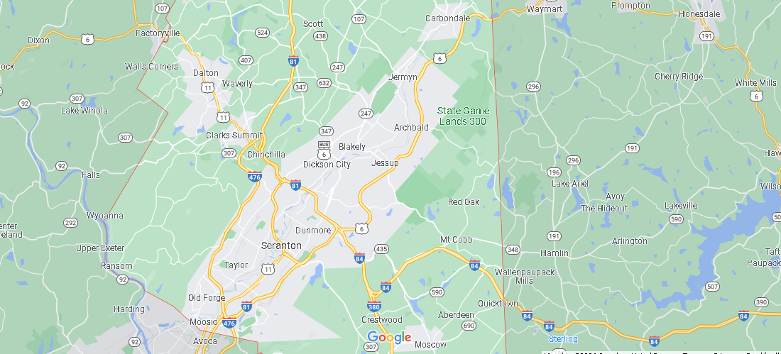 What Cities are in Lackawanna County