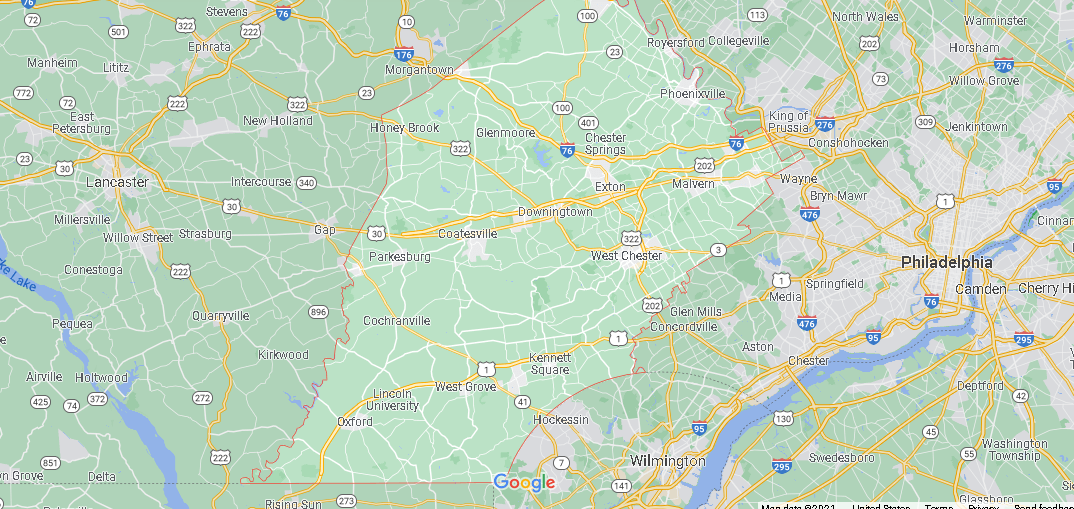 What cities are in Chester County
