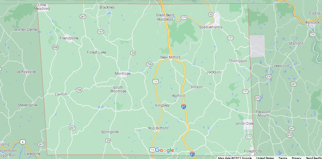 What Cities are in Susquehanna County