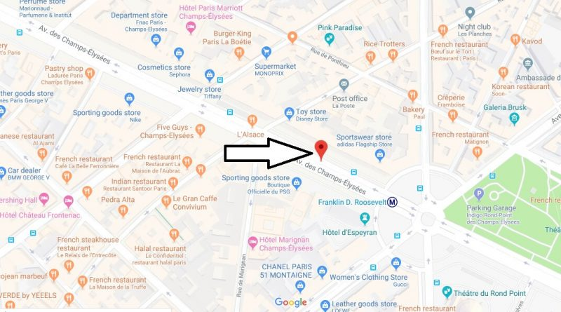 Where is Champs Elysees? What Country is Champs Elysees in? Champs Elysees Map